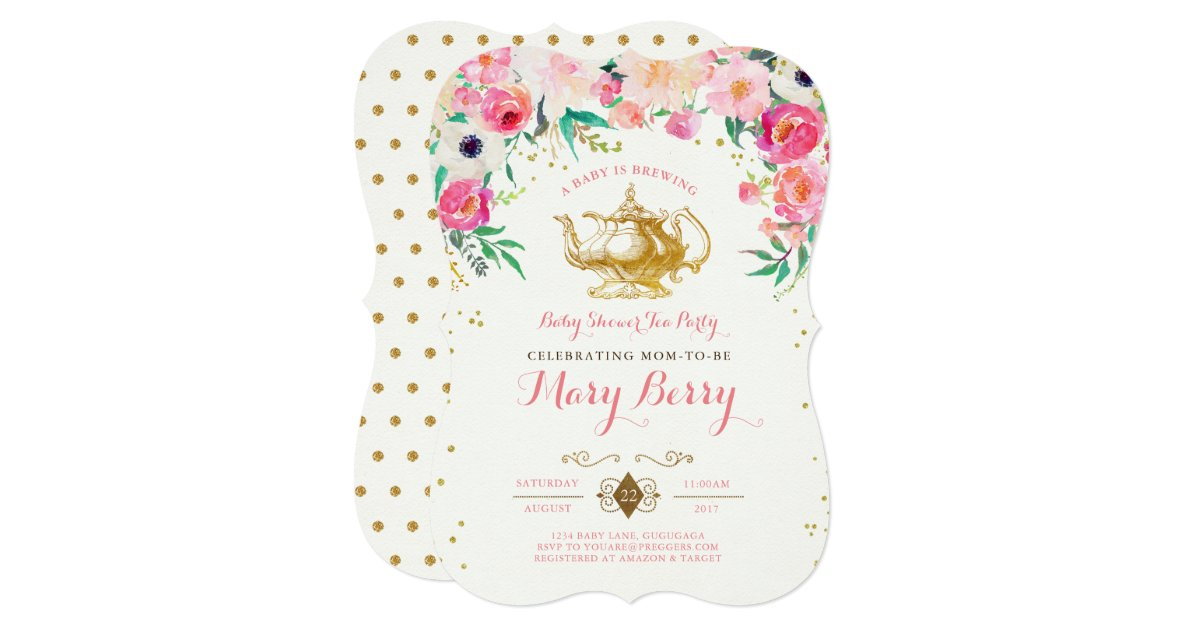 Tea Party Baby Shower Invitation | Zazzle.com
