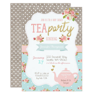 tea party invitations zazzle