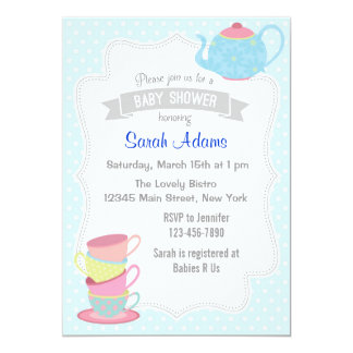Tea Party Baby Shower Invitation Pastel Blue Card