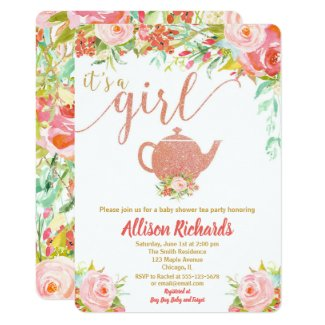 Tea party baby shower invitation rose gold