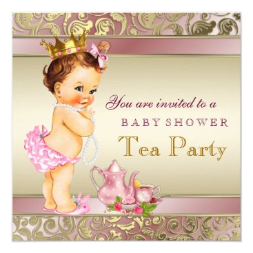 Toddler & Baby themed Tea Party Baby Shower Pink and Gold Pearl Card