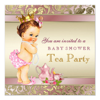 Tea Party Baby Shower Pink and Gold Pearl 5.25x5.25 Square Paper Invitation Card