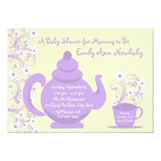 Tea Party Baby Shower Purple and yellow Invitations
