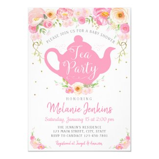 Tea Party Baby Shower Sprinkle Invitation