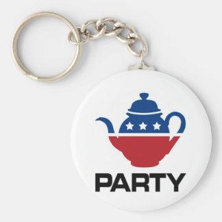 Tea Party Basic Round Button Keychain