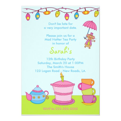 "Tea Party Birthday 5"" X 7"" Invitation Card"