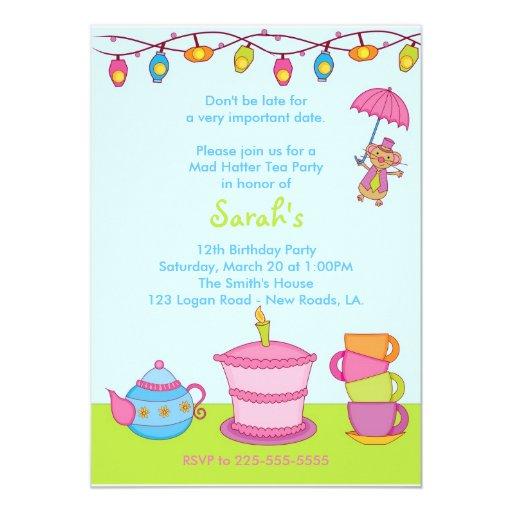 Tea Party Birthday Announcements