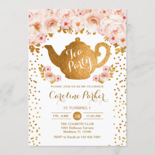 tea birthday invitations zazzle