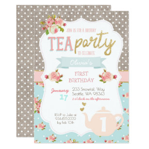 Tea Party Birthday Invitations Announcements Zazzle