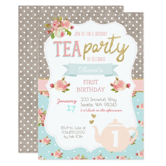 tea party birthday invitation zazzle com