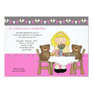 Tea Party Birthday Invitation ( Blonde Girl)