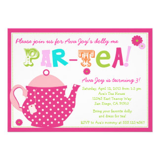 Tea Party Birthday Invitation for Girls and Dolly