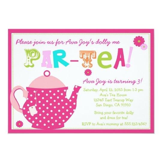 Tea Party Birthday Invitation For Girls And Dolly Zazzle Com