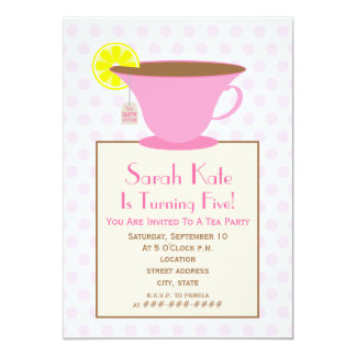 "Tea Party Birthday Invitation - Pink 5"" X 7"" Invitation Card"