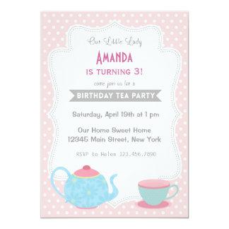 Tea Party Birthday Invitation Sweet Pink