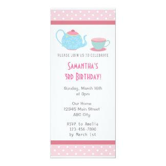 Tea Party Birthday Party Invitation Pink Polka Dot