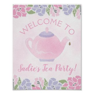 Tea Party Birthday Party Welcome Sign