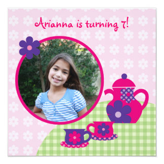 Tea Party Birthday Photo Invitation