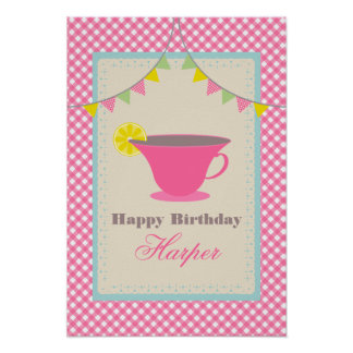 Tea Party Birthday Poster - Pink Gingham