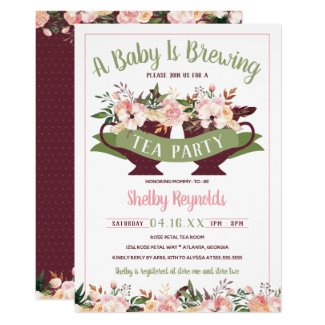 Tea Party Boho Baby Shower Invitation