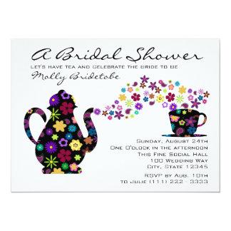 Tea Party Bouquet Bridal Shower 5.5x7.5 Paper Invitation Card