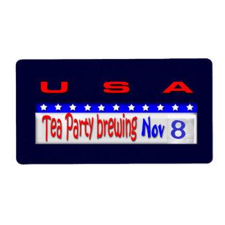 Tea Party Brewing Label