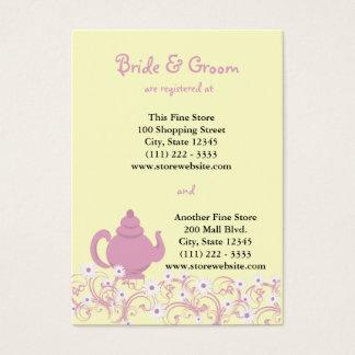 Tea Party Bridal Registry Card