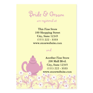 Tea Party Bridal Registry Card Large Business Cards (Pack Of 100)
