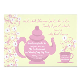 Tea Party Bridal Shower and recipe cards Personalized Invitation