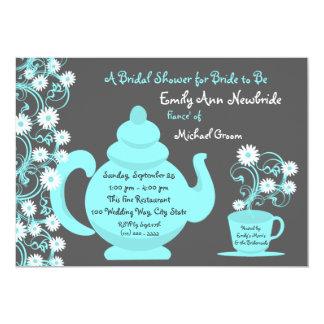 Tea Party Bridal Shower Aqua and Slate 5x7 Paper Invitation Card