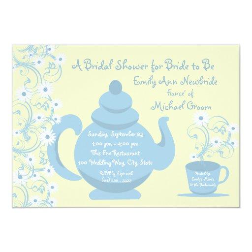 Tea Party Bridal Shower Blue 5x7 Paper Invitation Card