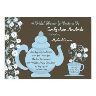 Tea Party Bridal Shower Blue and Brown Custom Invitation