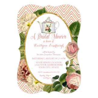 Tea Party Bridal Shower Chevron Stripes Rose 5x7 Paper Invitation Card