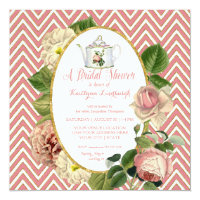 Tea Party Bridal Shower Chevron Stripes Rose Invitation