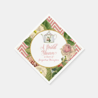 Tea Party Bridal Shower Chevron Stripes Rose Standard Cocktail Napkin