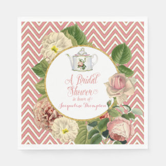 Tea Party Bridal Shower Chevron Stripes Rose Standard Luncheon Napkin