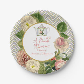 Tea Party Bridal Shower Chevron Stripes Rose Paper Plate