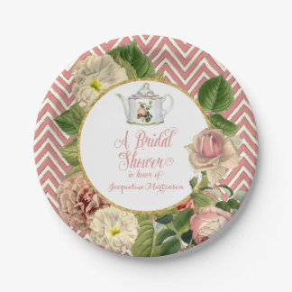 Tea Party Bridal Shower Chevron Stripes Rose Paper Plate