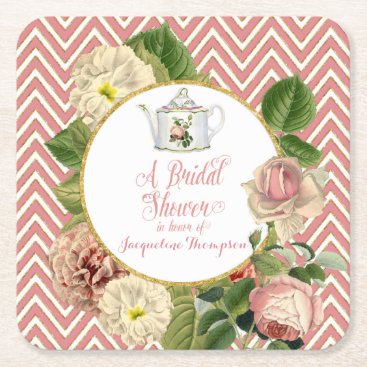 luxuryweddings Tea Party Bridal Shower Chevron Stripes Rose Square Paper Coaster