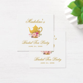 Tea Party Bridal Shower Gold Pink Floral Tags