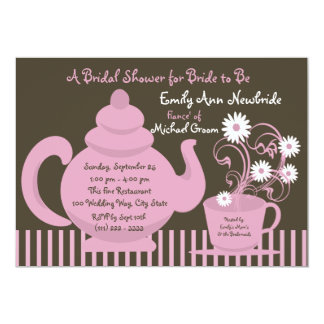 Tea Party Bridal Shower 5x7 Paper Invitation Card