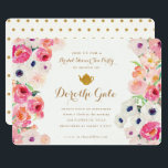 """Tea Party Bridal Shower Invitation<br><div class=""""desc"""">Beautifully hand painted  watercolor floral flower and a gold foiled teapot grace this whimsical Bridal Tea Shower invitation. Gold lettering makes it extra special. Put on your best tea party hat and invite your friends!</div>"""