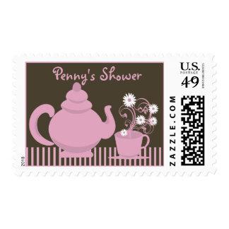 Tea Party Bridal Shower Pink Espresso Postage Stamps