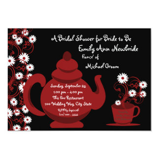 Tea Party Bridal Shower Red Black Card