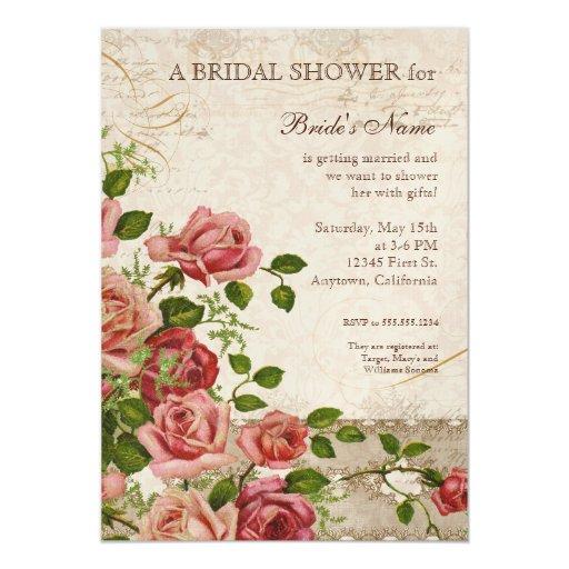 Tea Party Bridal Shower Rose Vintage Floral 5x7 Paper Invitation Card