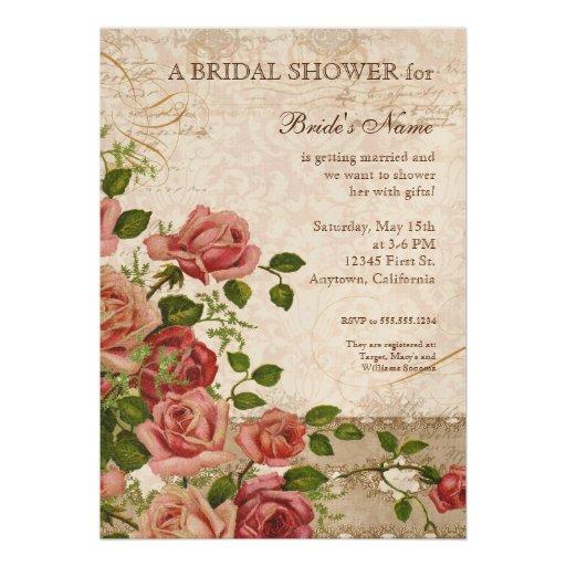Tea Party Bridal Shower Rose Vintage Floral Invites