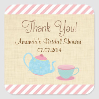 Tea Party Bridal Shower Thank You Stickers