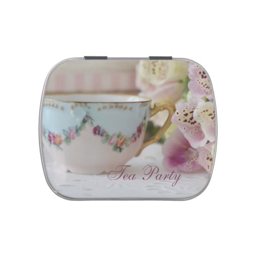 Tea party candy tins after dinner mints favors zazzle