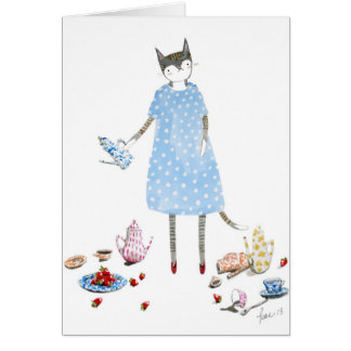 Tea Party Cat in a Karen Walker Dress Card
