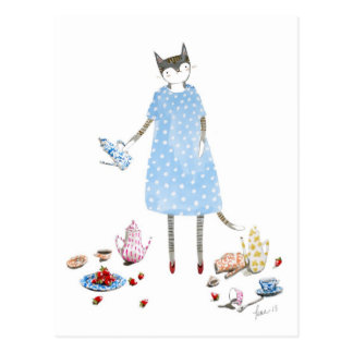 Tea Party Cat in a Karen Walker Dress Postcard